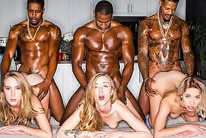 One stunning blonde squirearchy servicing muscular clouded dudes